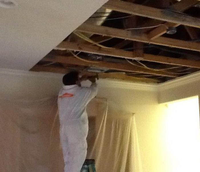 Hurricane Michael removing the damaged ceiling
